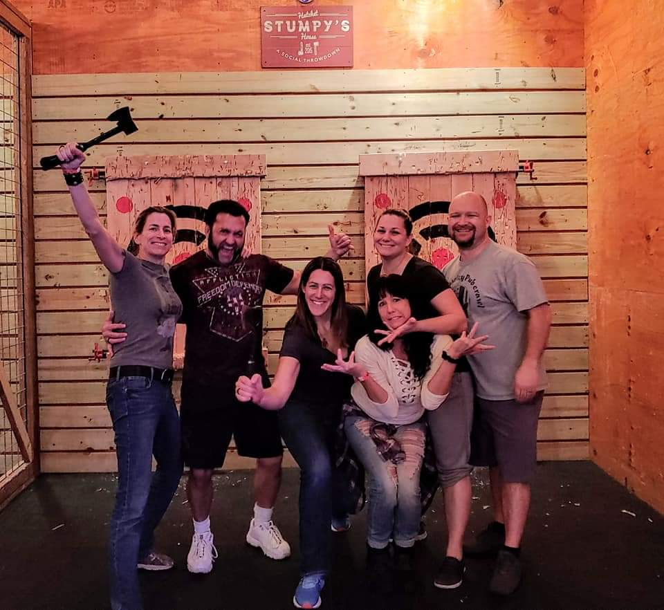 We had our favorite lesbians joining us for a jam packed weekend! Friday night Mingler, 15k Hot Chocolate Run, Saturday night mini bar crawl, and finished off strong with Axe throwing on Sunday!